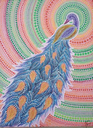 Peacock Dots by Aastha Bairollia, Decorative Painting, Acrylic on Canvas, Pink color