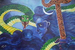 Destroyer by Aastha Bairollia, Fantasy Painting, Acrylic on Canvas, Blue color