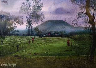 Before Rain by Sohel Sayyad , Impressionism Painting, Watercolor on Paper, Green color