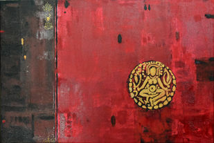 Meditation by Gita Hudson, Traditional Painting, Oil on Canvas, Orange color
