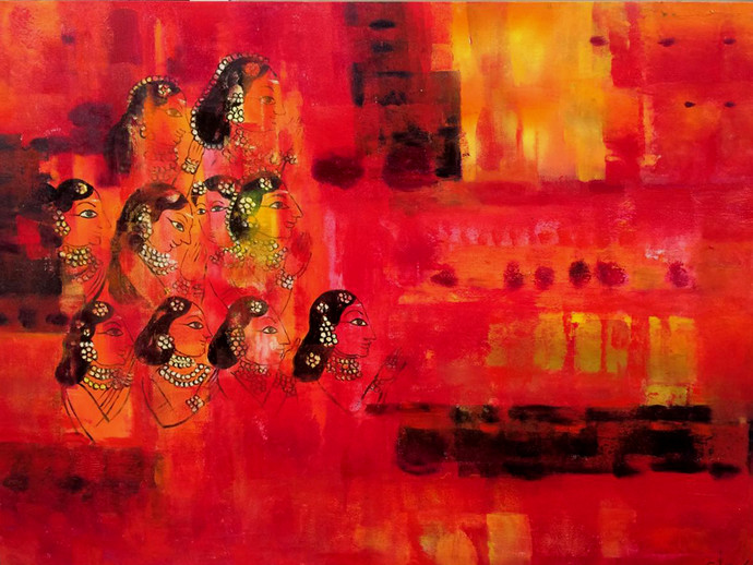 Thiruvarur by Gita Hudson, Expressionism Painting, Oil on Canvas, Red color