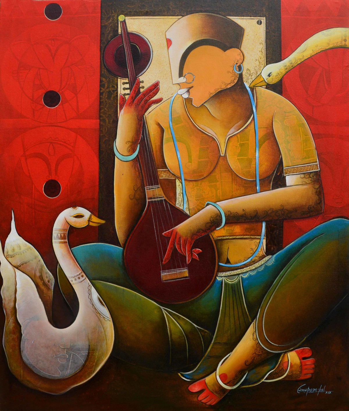 Veenavani by anupam pal, Decorative Painting, Acrylic on Canvas, Brown color