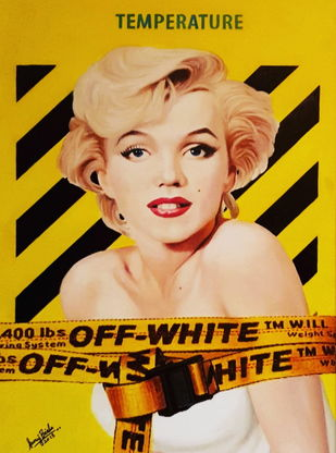 MONROE X OFF-WHITE by Sanuj Birla, Pop Art Painting, Oil on Canvas, Brown color