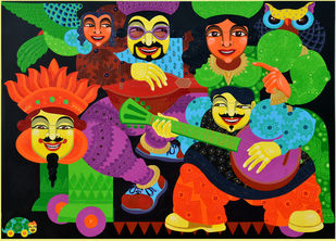 The Motley Amorous by Pradiptaa Chakraborty, Expressionism Painting, Acrylic on Canvas, Green color