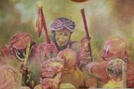 holi rasiya by Shatakshi Sharma , Expressionism Painting, Acrylic on Canvas, Brown color