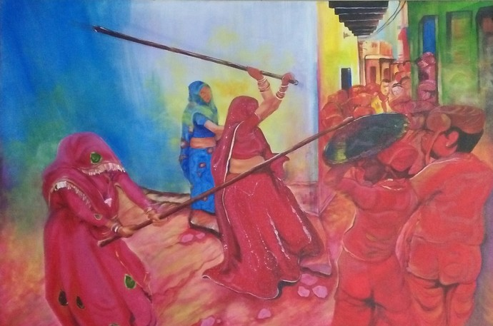 latthamaar holi by Shatakshi Sharma , Expressionism Painting, Acrylic & Ink on Canvas, Pink color