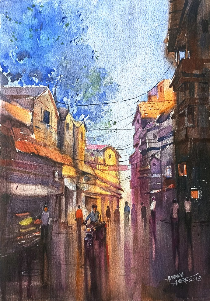 Golden Light by Ananda Ahire, Impressionism Painting, Watercolor on Paper, Brown color