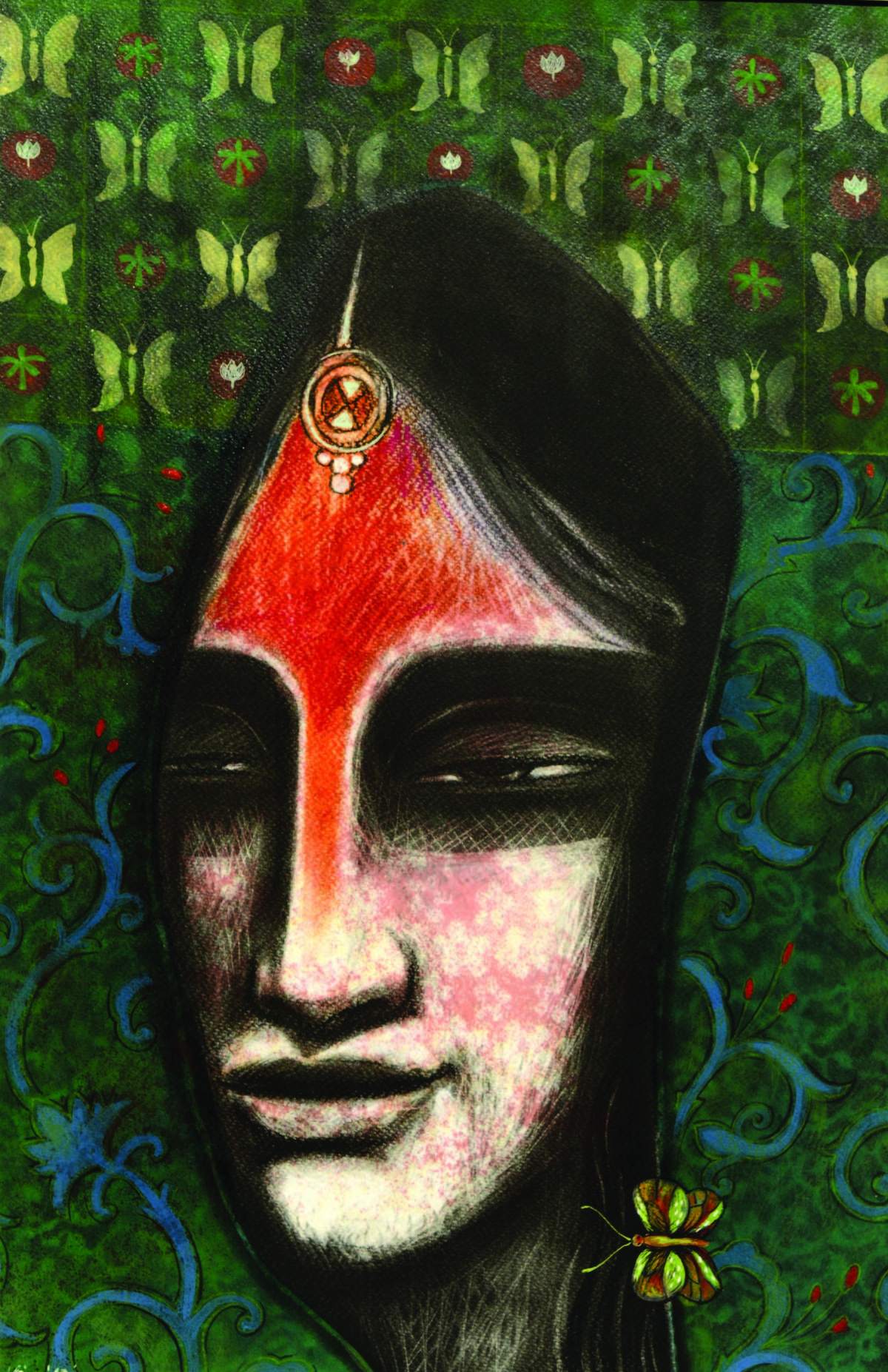 Devine Lady 2 by Atin Mitra, Expressionism Painting, Mixed Media on Paper, Green color