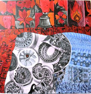 Rajkujjar by Charushila, Expressionism Painting, Acrylic on Canvas, Brown color