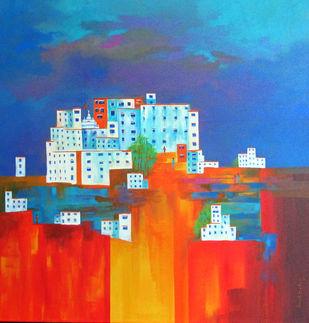 lamayuru_01 by Ganesh Badiger, Geometrical Painting, Acrylic on Canvas, Blue color