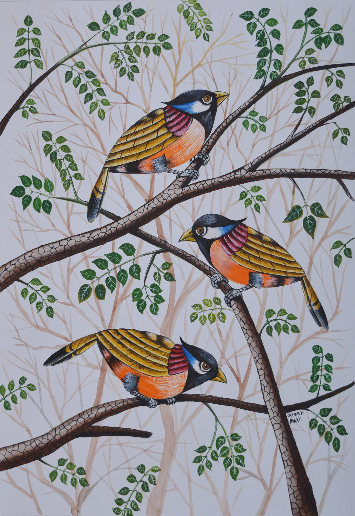 Birds Painting 63 by santosh patil, Expressionism Painting, Watercolor on Paper, Gray color