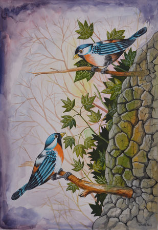 Birds Painting 67 by santosh patil, Decorative Painting, Watercolor on Paper, Brown color