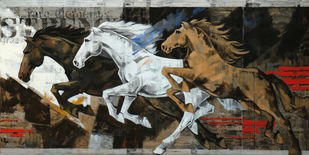 Horse Series -128 by Devidas Dharmadhikari, Expressionism Painting, Acrylic on Canvas, Brown color