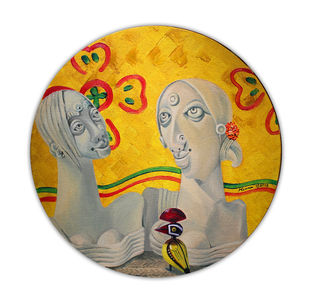 Conversation by Meenakumari Damre, Expressionism Painting, Oil on Canvas, White color