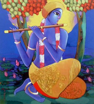 KRISHNA by Sekhar Roy, Decorative Painting, Acrylic on Canvas, Blue color