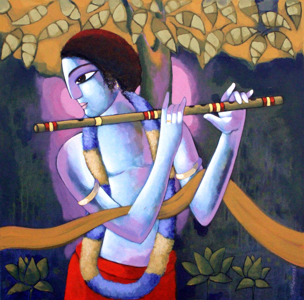 KRISHNA by Sekhar Roy, Decorative Painting, Acrylic on Canvas, Brown color