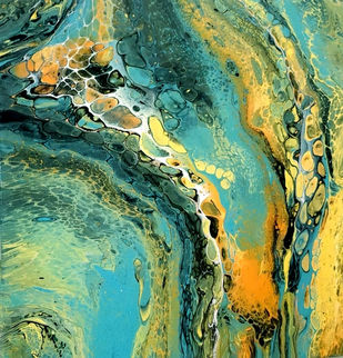 Effect 7 by kakali sanyal, Abstract Painting, Acrylic on Canvas, Green color