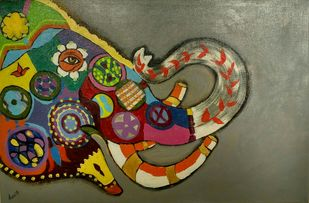 Haathi from the Jaipur elephant festival by Charushila, Expressionism Painting, Acrylic on Canvas, Brown color