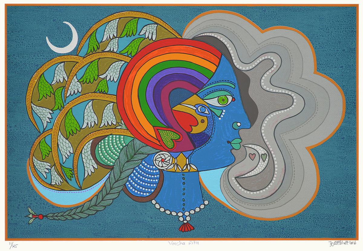 Varsha Ritu by Jyoti Bhatt, Expressionism Printmaking, Serigraph on Paper, Green color
