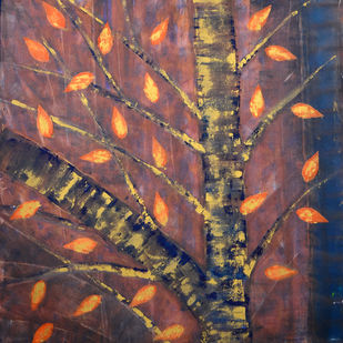 soul tree-eternal by Cheena Madan, Decorative Painting, Acrylic on Canvas, Brown color