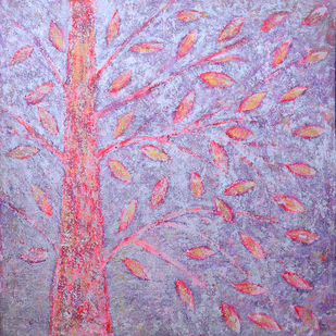 soul tree : aglow by Cheena Madan, Decorative Painting, Acrylic on Canvas, Pink color