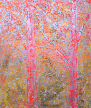 soul tree : vehemence by Cheena Madan, Decorative Painting, Acrylic on Canvas, Pink color