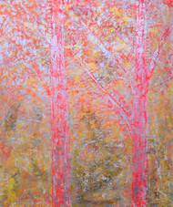 soul tree : vehemence by Cheena Madan, Decorative Painting, Acrylic on Canvas, Pink color