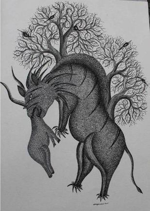 Untitled by Mayank Shyam, Tribal Painting, Pen & Ink on Paper, Gray color