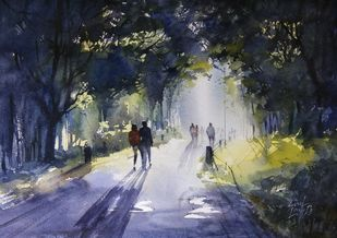 morning glory by Sunil Linus De, Impressionism Painting, Watercolor on Paper, Gray color