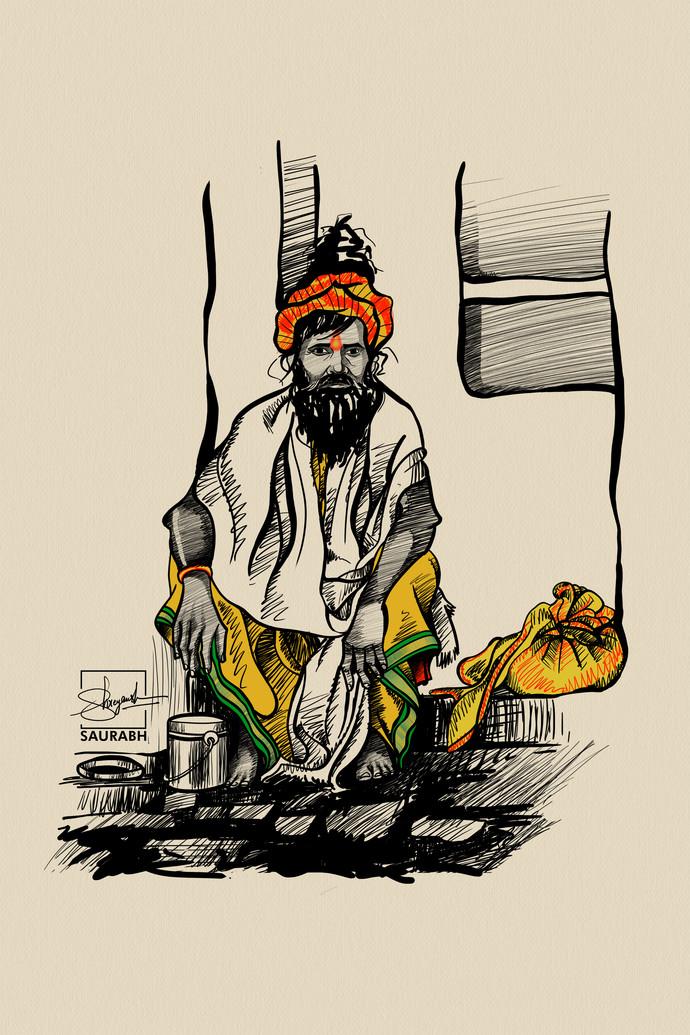 ' S A D H U ' of India by Shreyansh Saurabh, Digital Digital Art, Digital Print on Canvas, Beige color
