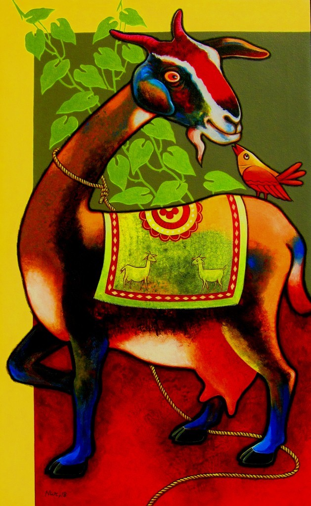 The Listener -01 by SK NUR ALI, Expressionism Painting, Acrylic & Graphite on Canvas, Brown color