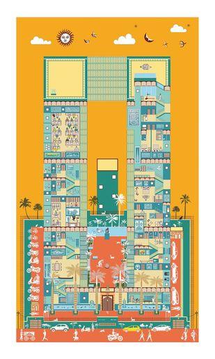 """The soul of India House"" by Vignesh Premkumar, Geometrical Digital Art, Ink on Paper, Beige color"