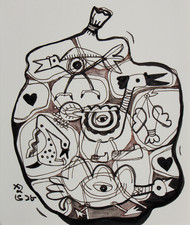 Wings in a shell: by Shubharanjan Paul, Illustration Drawing, Pen & Ink on Paper, Gray color