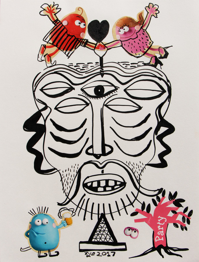 The Special Relationship by Shubharanjan Paul, Illustration Drawing, Mixed Media on Paper, Gray color