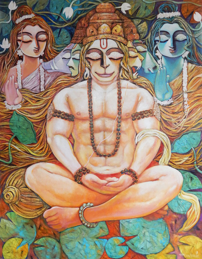 MAHAVEER-II by Subrata Ghosh, Expressionism Painting, Acrylic on Canvas, Brown color