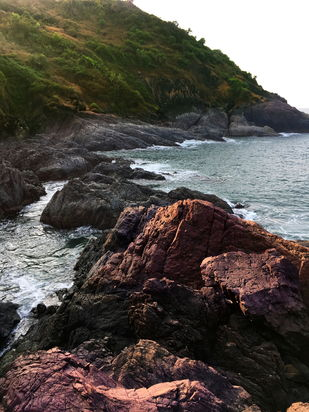 Rock Beach of Gokarna by ramnath, Image Photography, Digital Print on Paper, Gray color