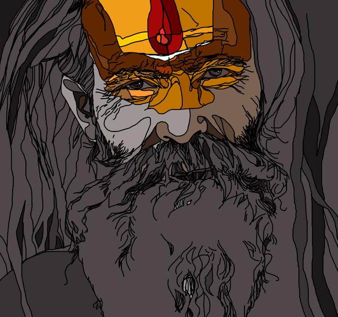 Sadhu by Uday Tadphale, Digital Digital Art, Digital Print on Paper, Gray color