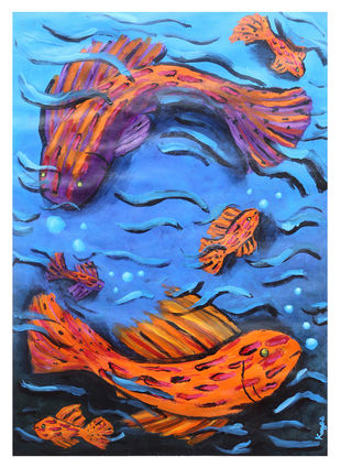 Infinite movement by Kavya vyas , Expressionism Painting, Acrylic on Paper, Blue color