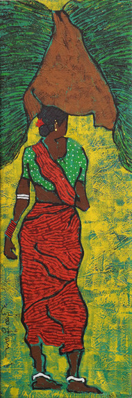Untitled-28 by Chary PS, Expressionism Painting, Acrylic on Canvas, Green color