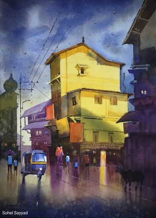 After Rain by Sohel Sayyad , Impressionism Painting, Watercolor on Paper, Blue color
