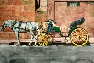 Horse carriage by Uday Bhan, Impressionism Painting, Watercolor on Paper, Brown color