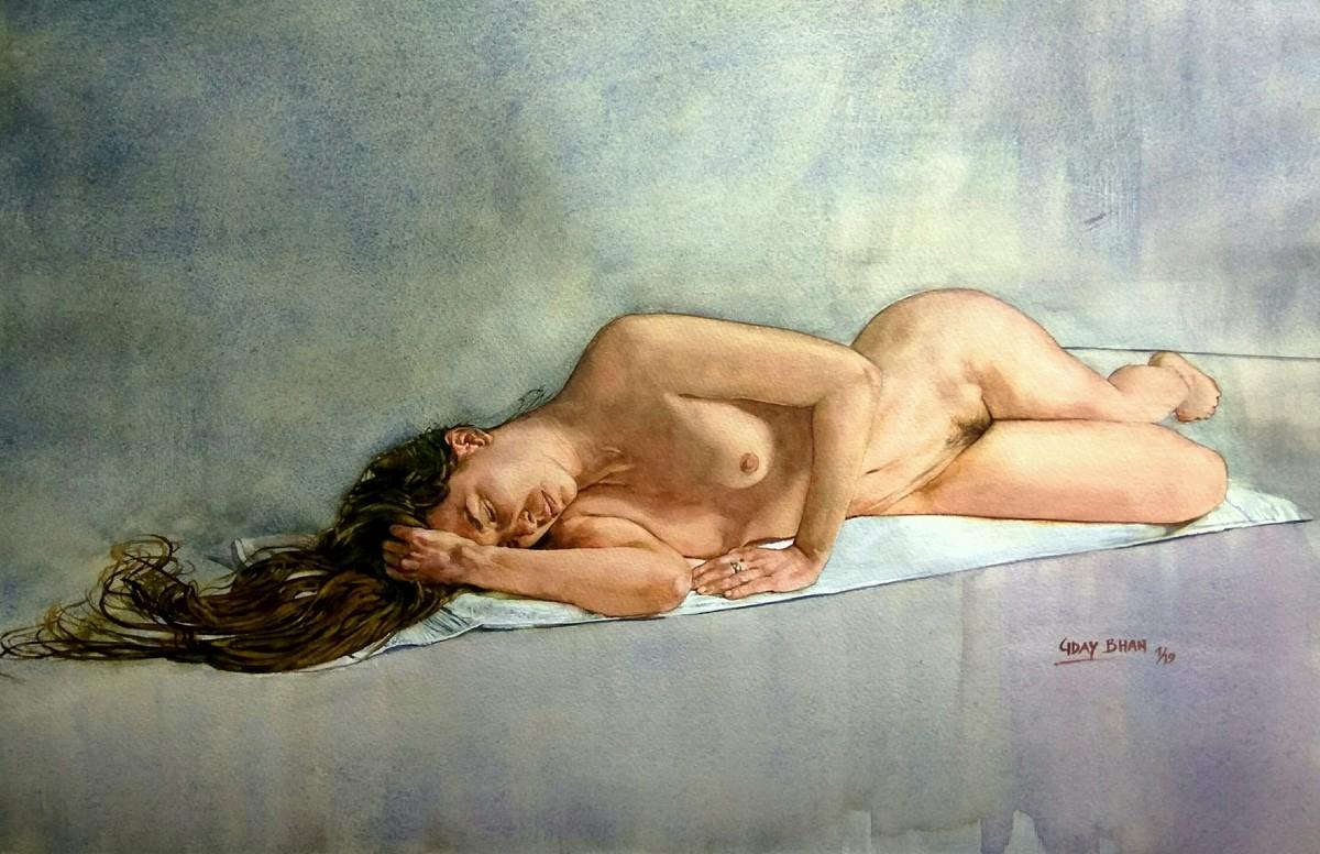Nude Digital Print by Uday Bhan,Impressionism