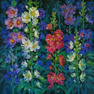 Hollyhocks - 6 by Swati Kale, Impressionism Painting, Oil on Canvas, Green color