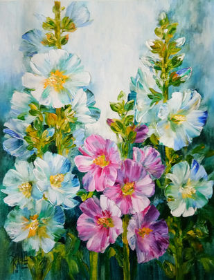 Hollyhocks - 3 by Swati Kale, Expressionism Painting, Oil on Canvas, Green color