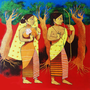DIVINE COUPLE by Prakash Pore, Traditional Painting, Acrylic on Canvas, Brown color