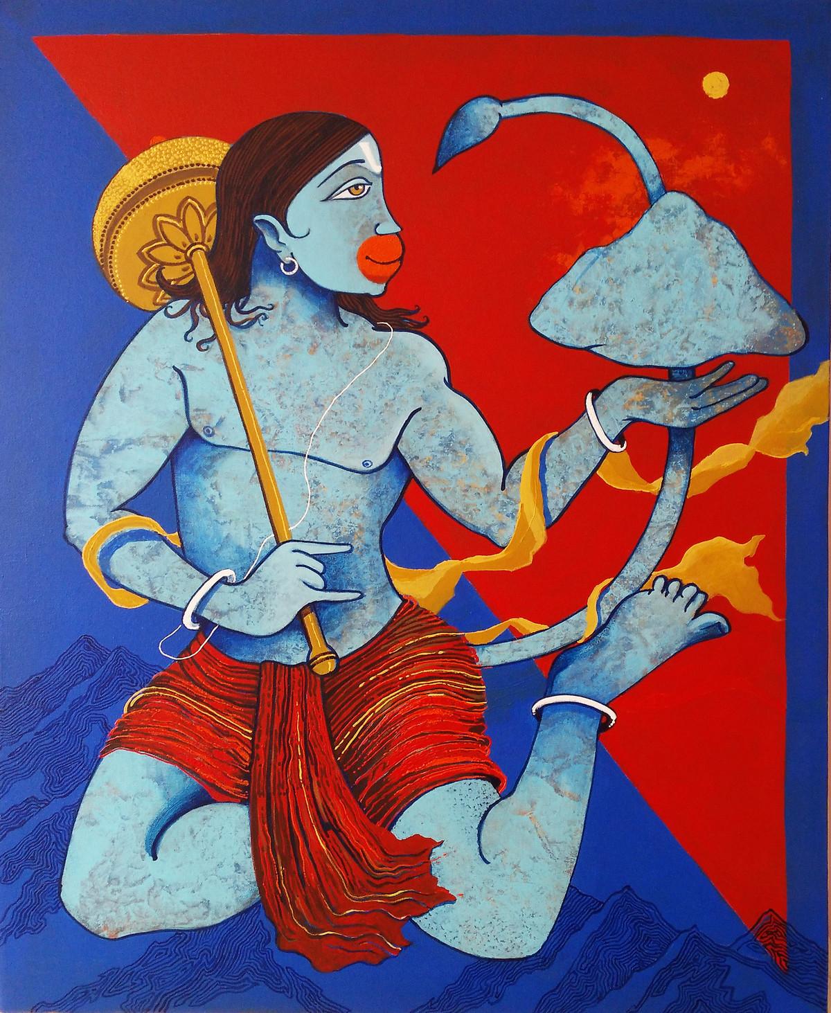 DRONAGIRI by Prakash Pore, Expressionism Painting, Acrylic on Canvas, Blue color