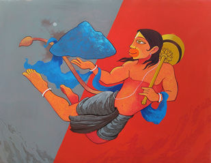 DRONAGIRI 2 by Prakash Pore, Traditional Painting, Acrylic on Canvas, Red color
