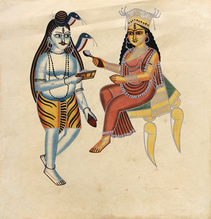 Kalighat Painting by Unknown Artist, Folk Painting, Watercolor on Paper, Beige color