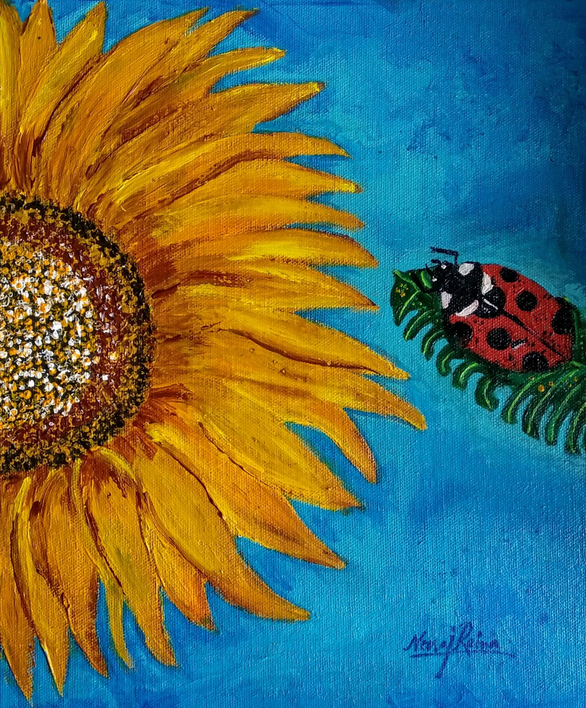 The Ladybird Beetle And Their Sunflower Story-by Neeraj Raina Digital Print by Neeraj Raina,Expressionism
