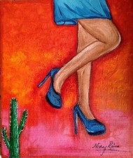 Thorny Legs by Neeraj Raina, Expressionism Painting, Acrylic on Canvas, Red color